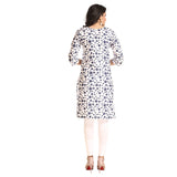 Grishti White Polyester Polka Dot Printed 3/4th Sleeved Kurti for Women