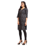 Grishti Black Polyester Printed 3/4th Sleeved Kurti for Women