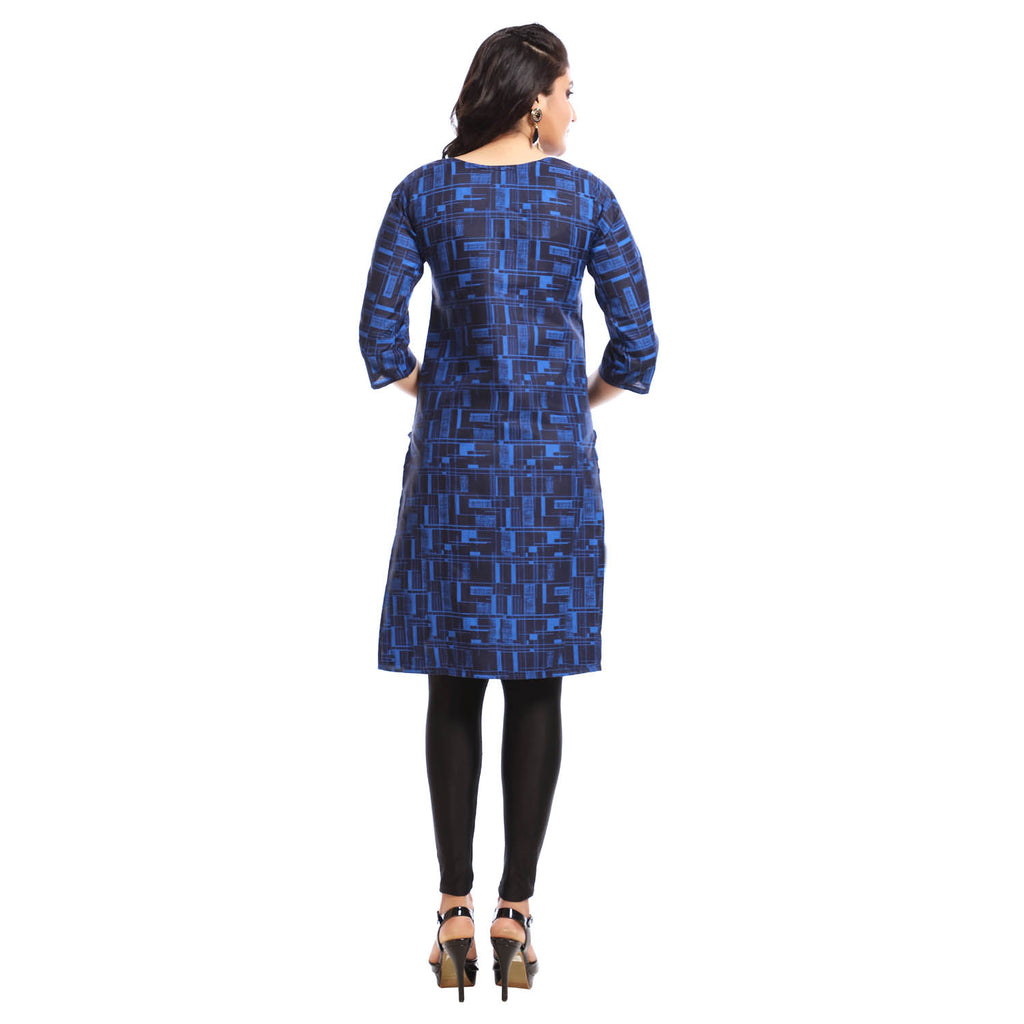Blue Polyester Printed 3/4th Sleeved Kurti