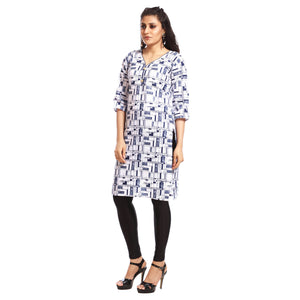 White Polyester Printed 3/4th Sleeved Kurti