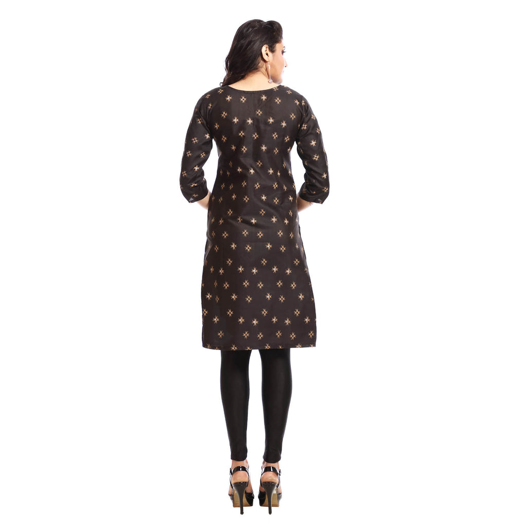 Black Polyester Printed 3/4th Sleeved Kurti