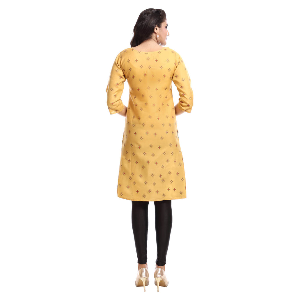 Beige Polyester Printed 3/4th Sleeved Kurti