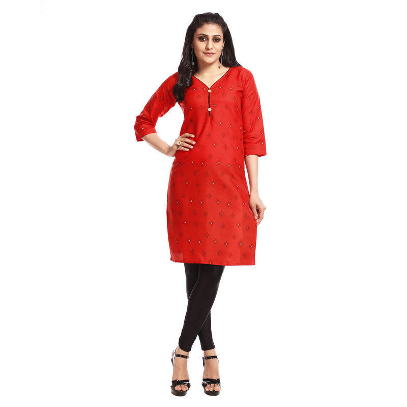 Red Polyester Printed 3/4th Sleeved Kurti