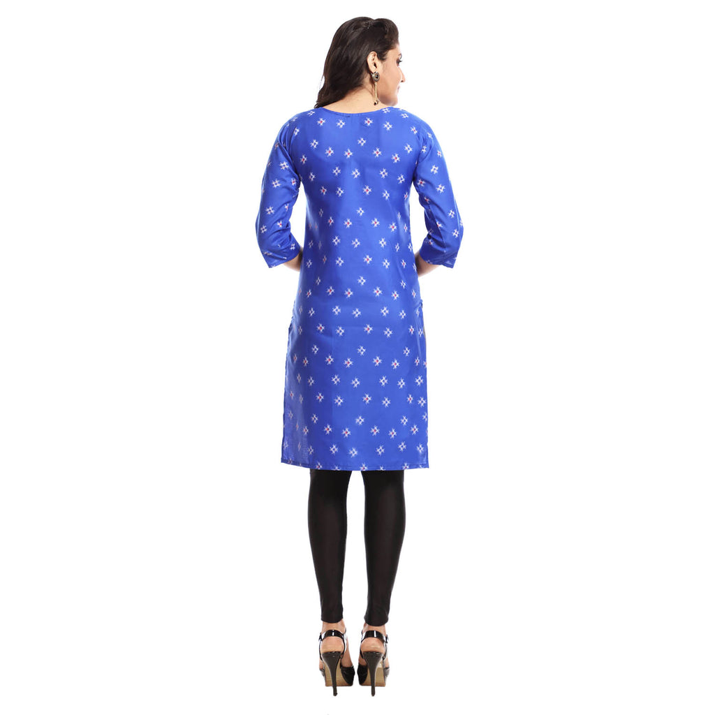 Royal Blue Polyester Printed 3/4th Sleeved Kurti