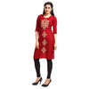 Maroon Polyester Embroidered 3/4th Sleeved Kurti