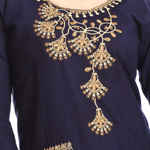 Navy Blue Polyester Embroidered Straight Kurti