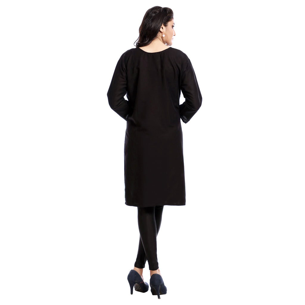 Black Polyester Embroidered Knee Length Kurti