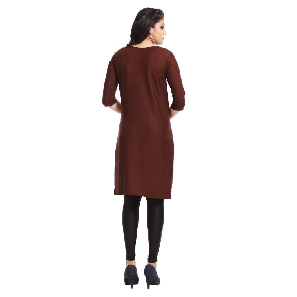 Solid Brown Polyester Round Neck 3/4th Sleeved Kurti