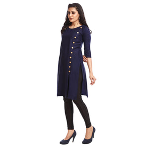 Solid Navy Blue Polyester Round Neck 3/4th Sleeved Kurti