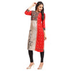 Red Rayon Printed Straight Kurti