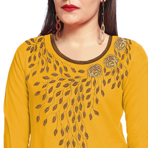 Yellow Rayon Printed Straight Kurti