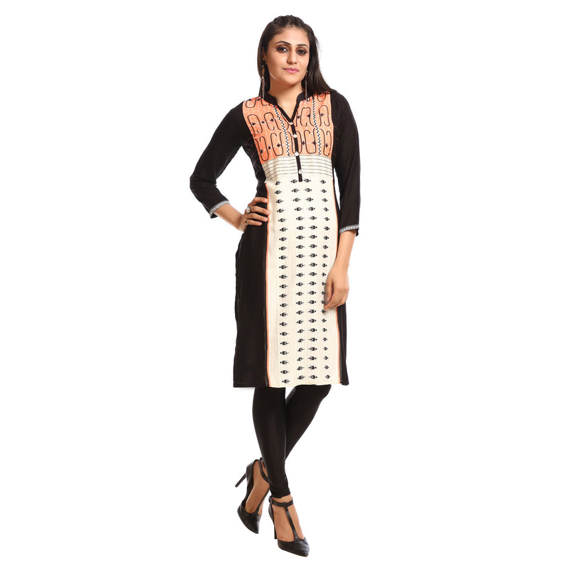 Black Casual Printed Kurta