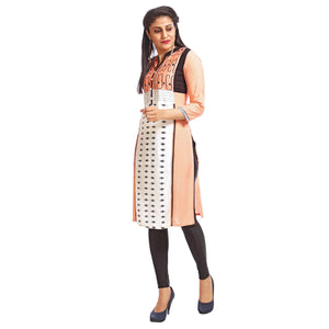 Peach Casual Printed Kurta
