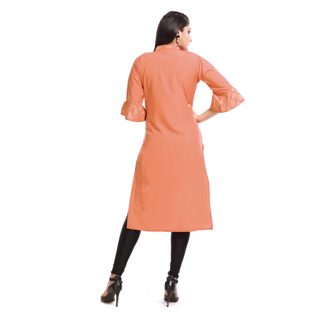 Peach Crepe Rayon Banded Collar Knee Length Kurti