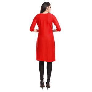 Navy Blue Polyester Knee Length Round Neck Kurti