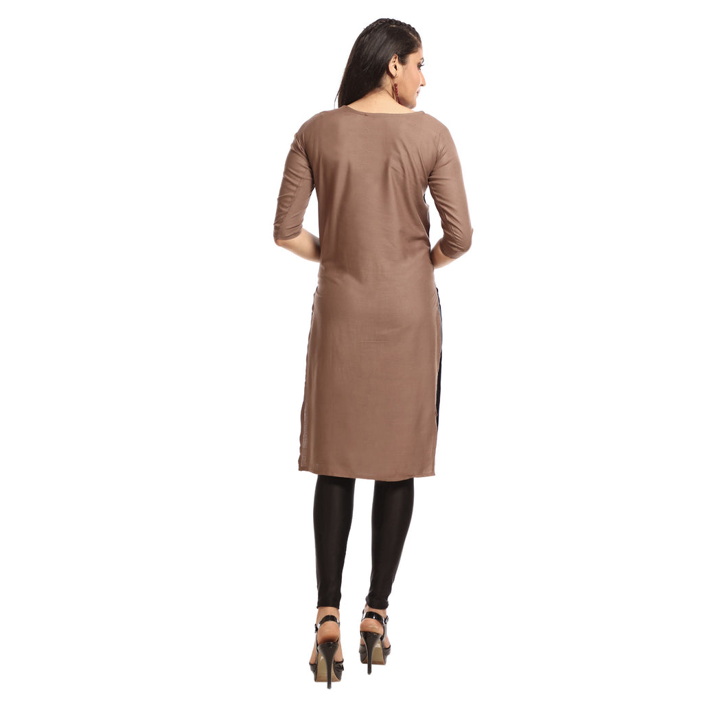 Brown Poly Cotton Knee Length Kurti