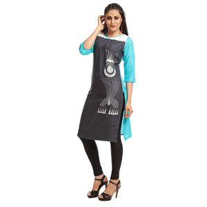 Grey Polyester Printed 3/4th Sleeved Side Slit Kurti