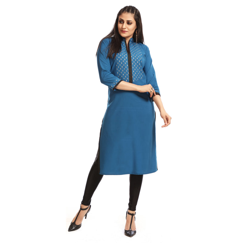 Blue Cotton Banded Collar Straight Kurti
