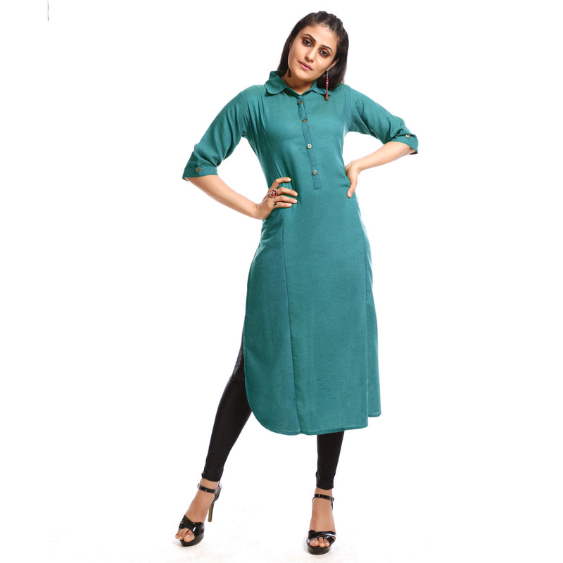 Solid Turquoise Cotton Calf Length Kurti