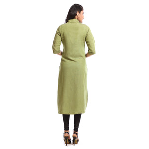 Solid Green Cotton Calf Length Kurti