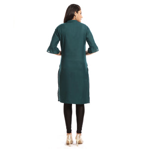 Green Rayon Straight Knee Length Kurti