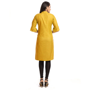 Mustard Rayon Straight Knee Length Kurti