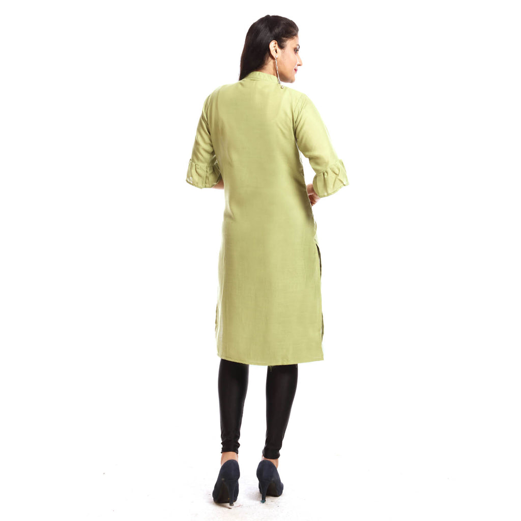 Pista Rayon Straight Knee Length Kurti