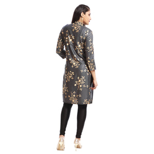 Grey Polyester Block Printed 3/4th Sleeved Kurti
