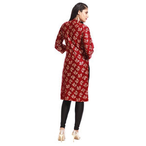 Maroon Polyester Block Printed 3/4th Sleeved Kurti