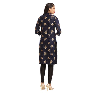 Navy Blue Polyester Block Printed 3/4th Sleeved Kurti