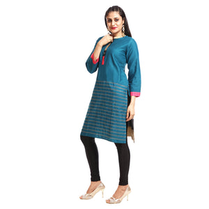 Blue Cotton Regular Fit Kurti