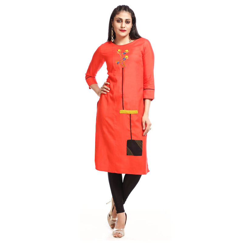 Coral Rayon Round Neck 3/4th Sleeved Kurti