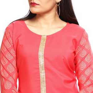 Gold Pink Cotton 3/4th Sleeved Side Slit Kurti