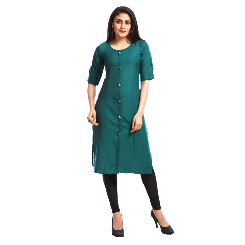 Green Casual Embroidered Kurta