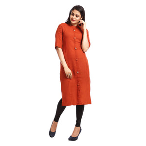 Brown Casual Embroidered Kurta