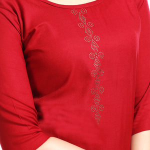 Solid Maroon Polyester 3/4th Sleeved Short Kurti