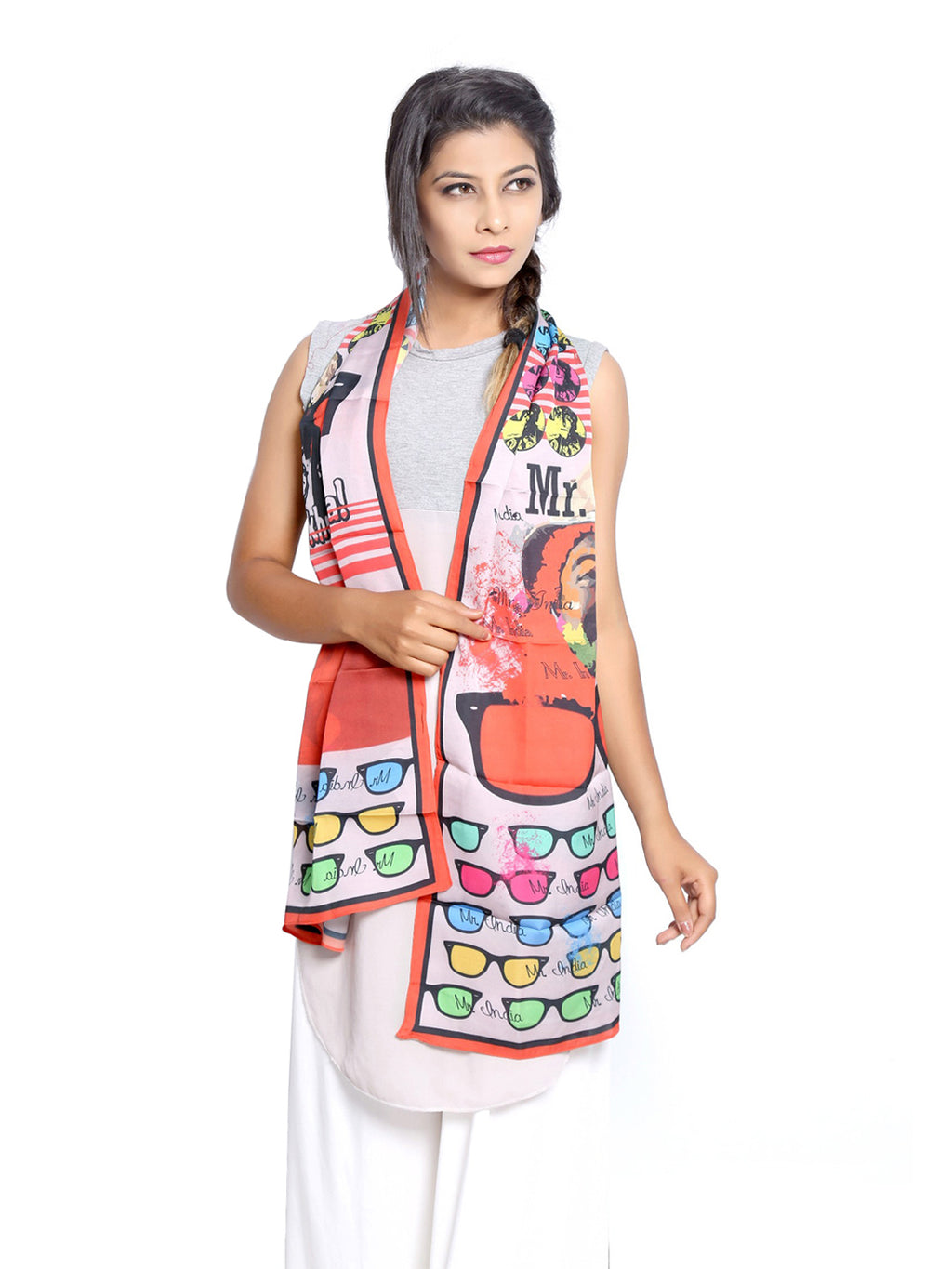 Bollywood Graphic Printed Scarf - Mr. India