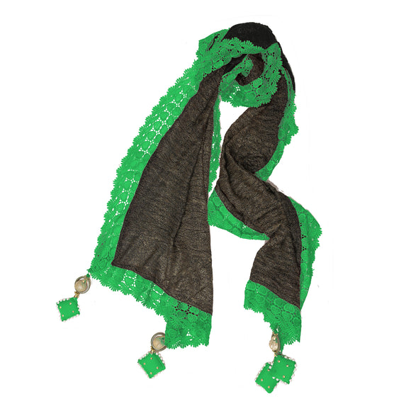 Classy Black Green Polyester Stole