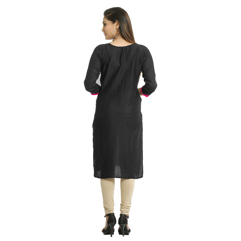 Black Cotton Embroidered Round Neck Kurti