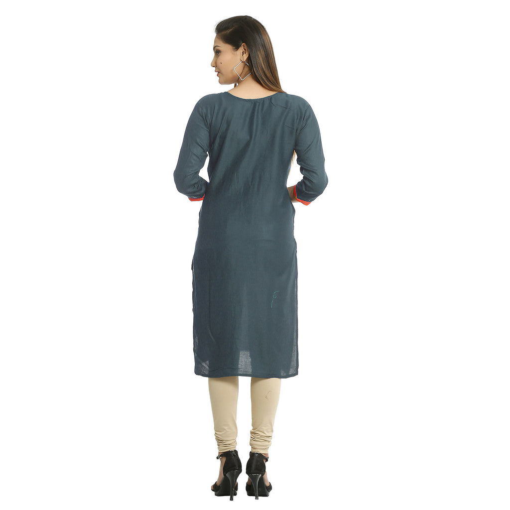 Grey Cotton Embroidered Round Neck Kurti