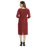 Maroon Cotton Embroidered Round Neck Kurti for Women