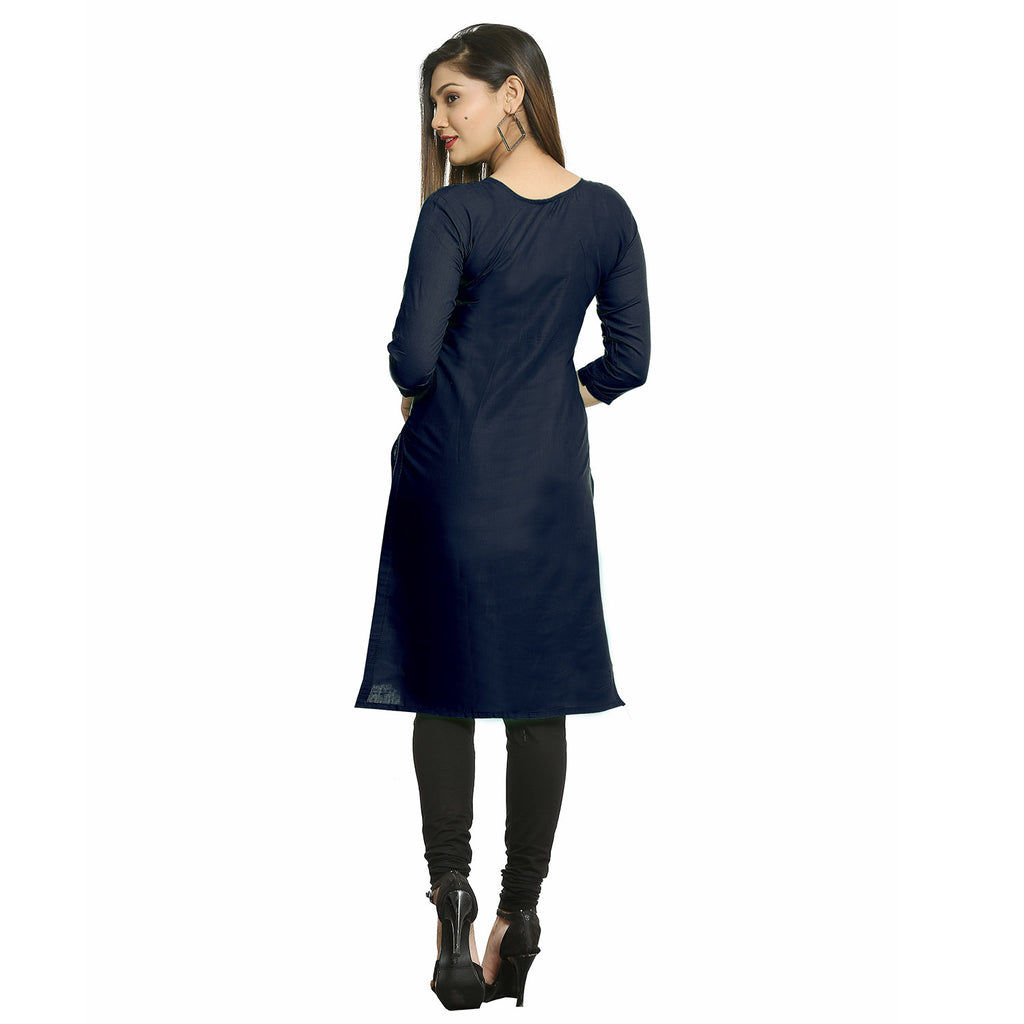 Navy Blue Cotton Side Slit Embroidered Kurti