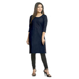Navy Blue Cotton Side Slit Embroidered Kurti for Women