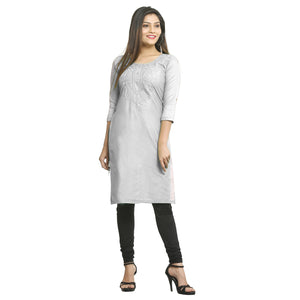 White Cotton Side Slit Embroidered Kurti