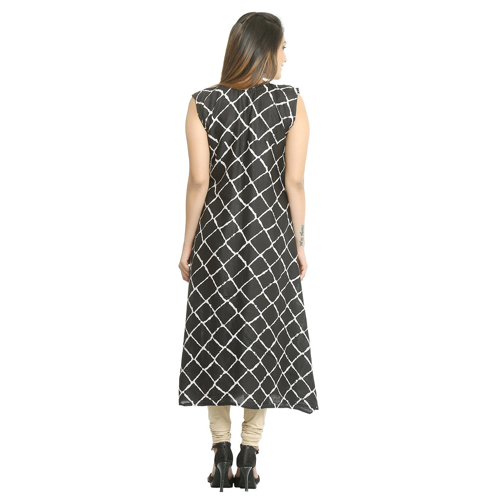Black Rayon Sleeveless Casual Kurti