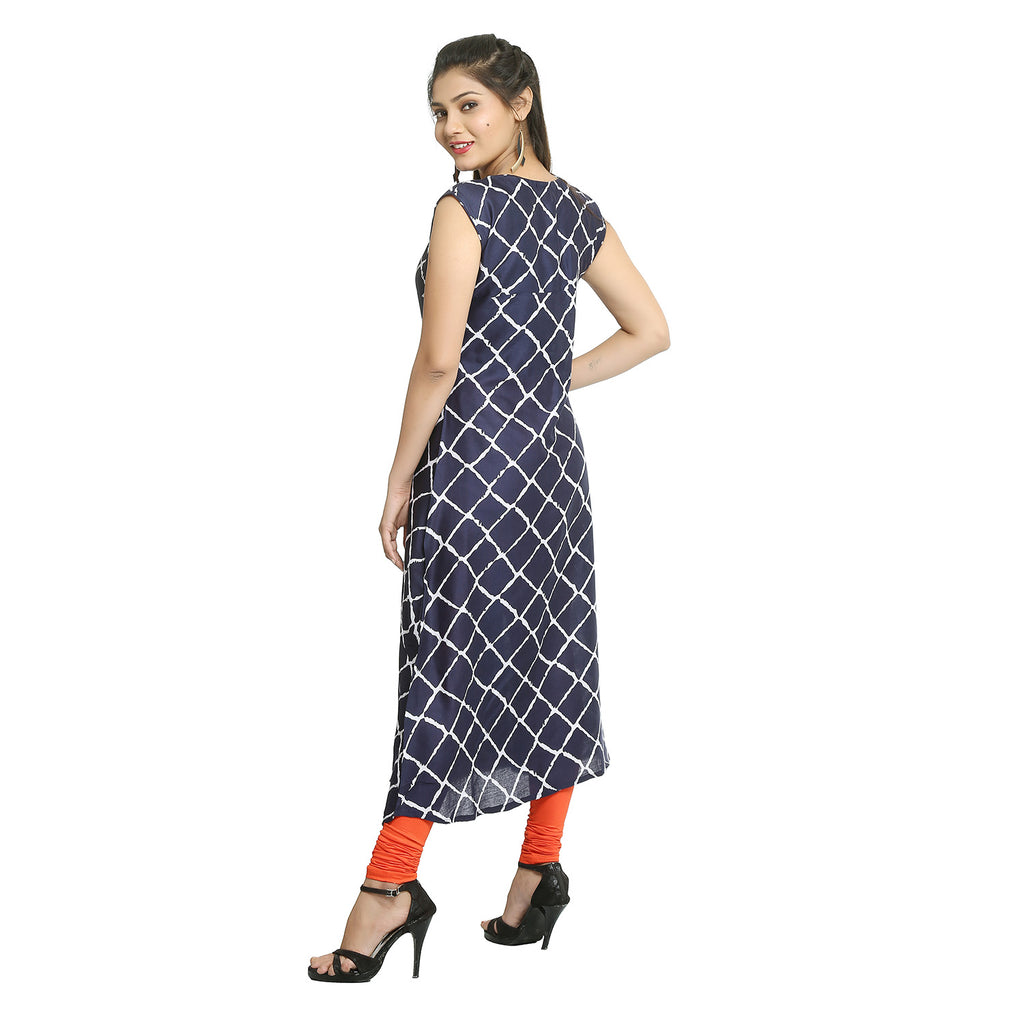 Navy Blue Rayon Sleeveless Casual Kurti
