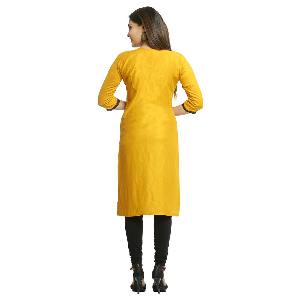 Mustard Cotton 3/4th Sleeved Round Neck Kurti