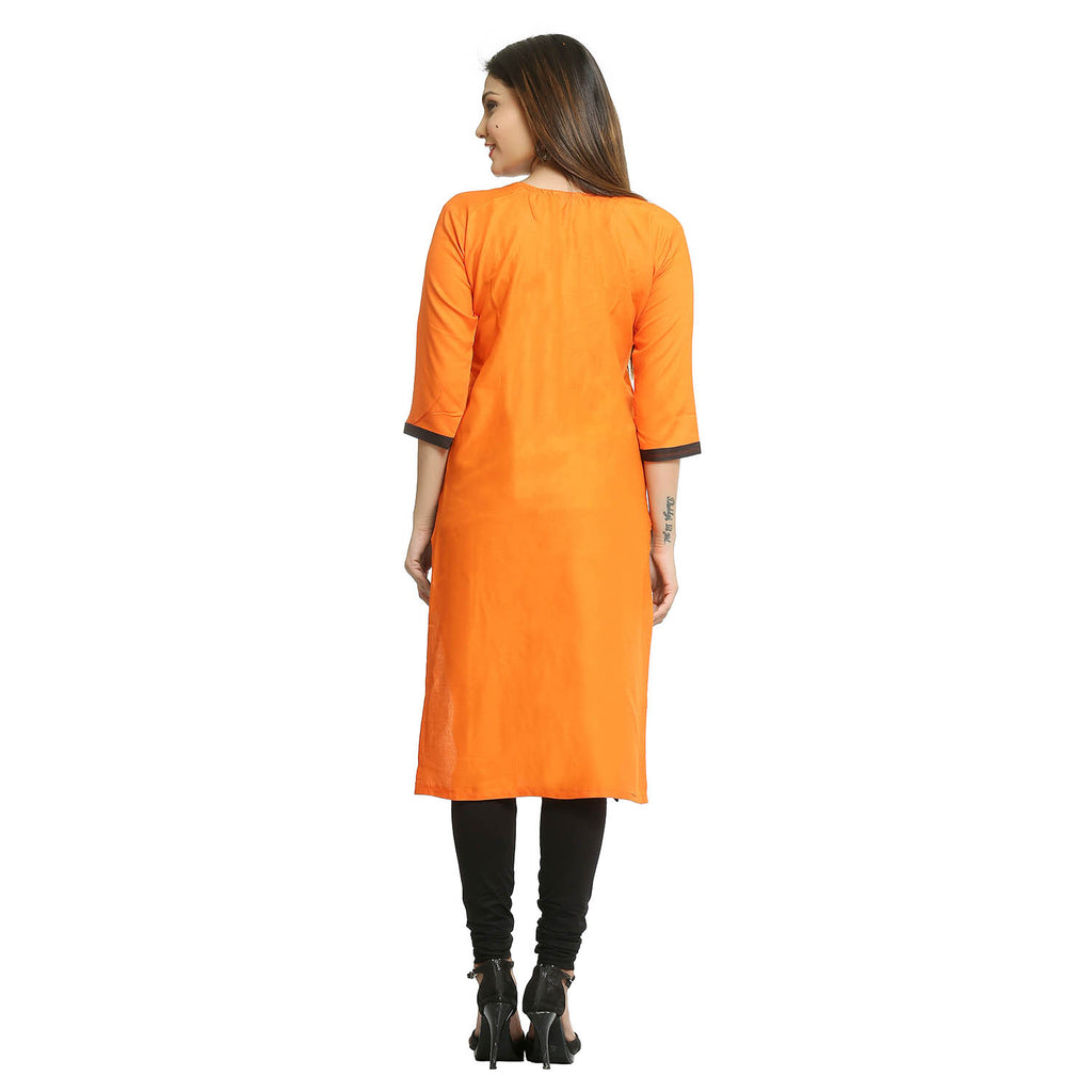 Orange Cotton 3/4th Sleeved Round Neck Kurti