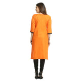 Orange Cotton 3/4th Sleeved Round Neck Kurti for Women