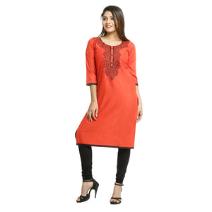 Red Cotton 3/4th Sleeved Round Neck Kurti